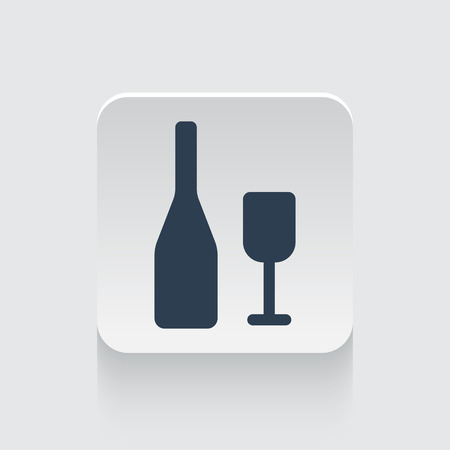 lifestyle dining: Flat black Wine icon on rounded square web button Illustration