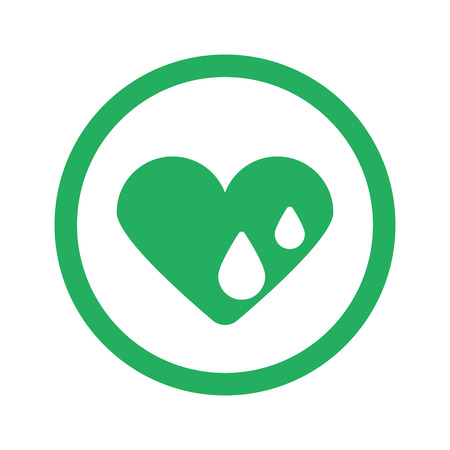 hes: Flat green Heart Water icon and green circle Illustration
