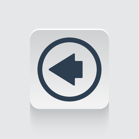 black arrow: Flat black Arrow Left icon on rounded square web button Illustration