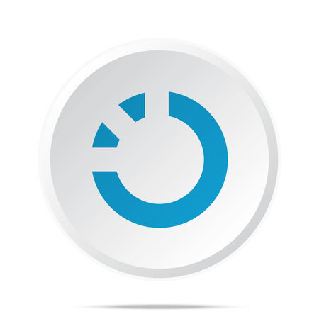 spin: Flat blue Loading icon on circle web button on white