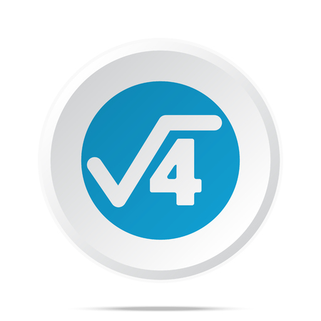 square root: Flat blue Square Root icon on circle web button on white