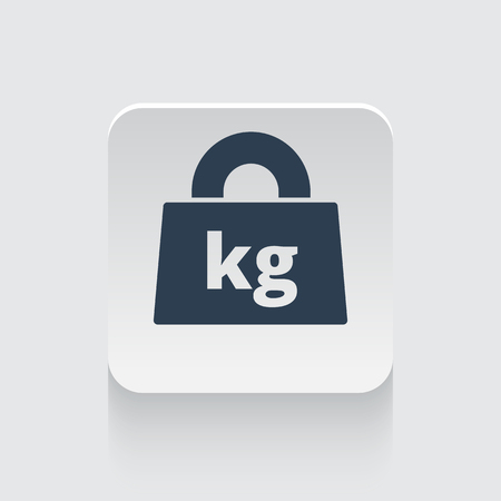 lbs: Flat black Weight Kilograms icon on rounded square web button