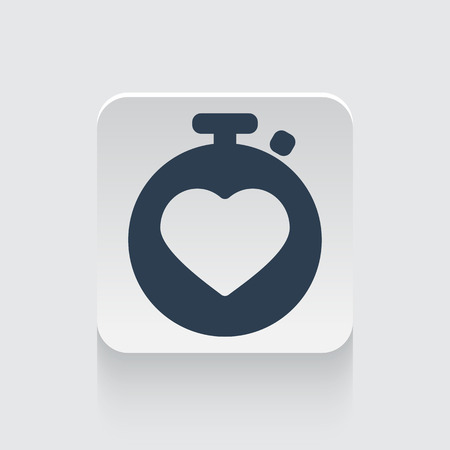 heart monitor: Flat black Heart Rate Monitor icon on rounded square web button
