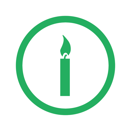 hope symbol of light: Flat green Candle Light icon and green circle Illustration