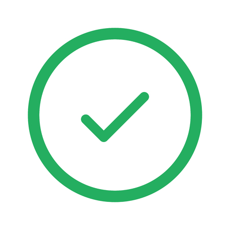 confirm: Flat green Confirm icon and green circle Illustration