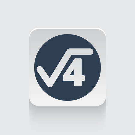 square root: Flat black Square Root icon on rounded square web button
