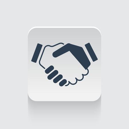 black handshake: Flat black Handshake Agreement icon on rounded square web button