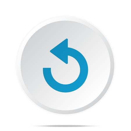 undo: Flat blue Undo icon on circle web button on white