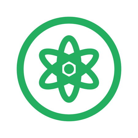 nuclear fission: Flat green Nuclear icon and green circle