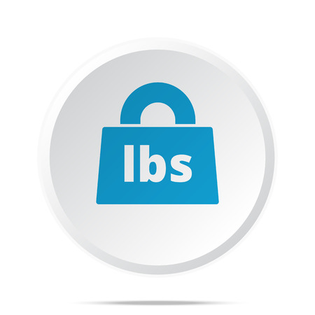 lbs: Flat blue Weight Pounds icon on circle web button on white Illustration