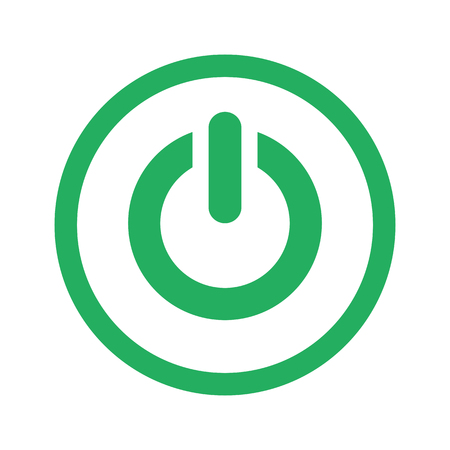 green power: Flat green Power icon and green circle Illustration