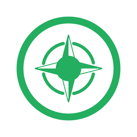 compass rose: Flat green Compass Rose icon and green circle
