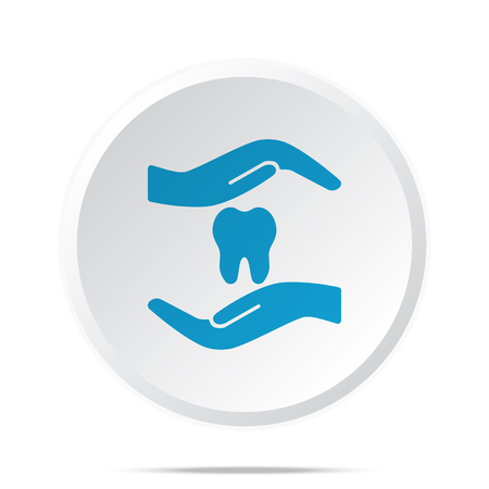 orthodontist: Flat blue Dental Care icon on circle web button on white Illustration