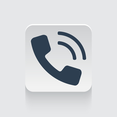 phone button: Flat black Phone icon on rounded square web button