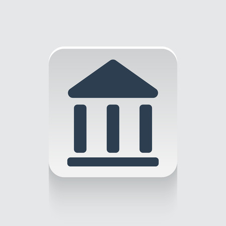 juridical: Flat black Institution icon on rounded square web button
