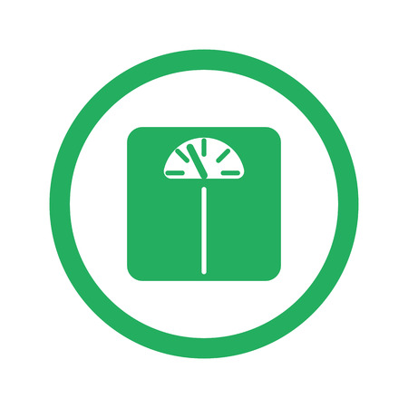 analog weight scale: Flat green Personal Scale icon and green circle Illustration
