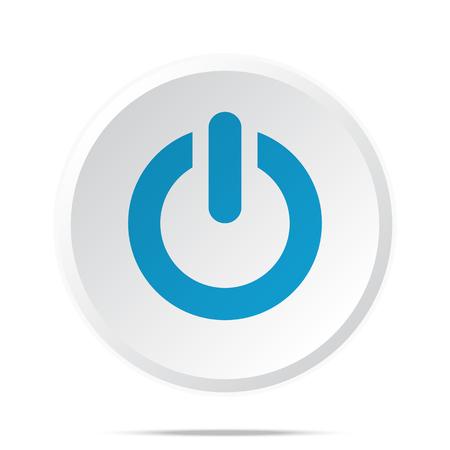 Piso icono azul de encendido botón de la web círculo en blanco