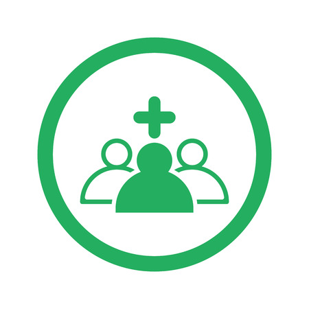 clinical staff: Flat green Medical Team icon and green circle