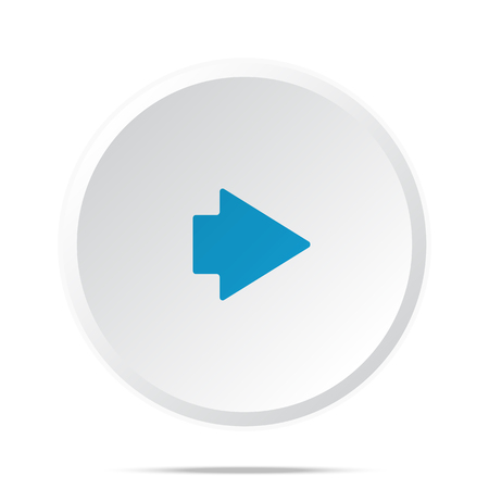 arrow right icon: Flat blue Arrow Right icon on circle web button on white