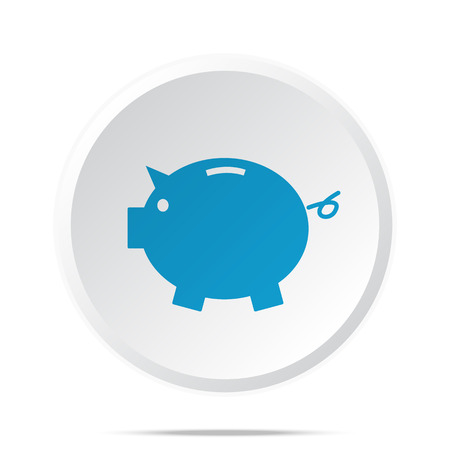 loaning: Flat blue Piggy Bank icon on circle web button on white