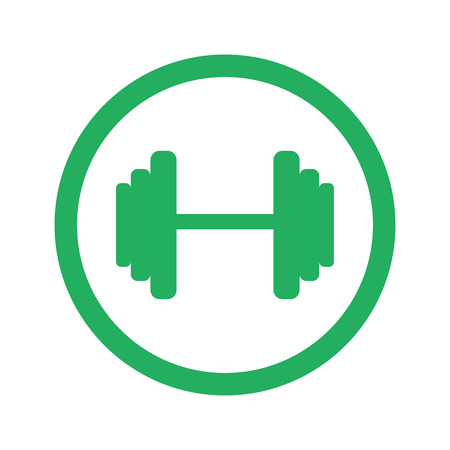 circular muscle: Flat green Dumbbell icon and green circle