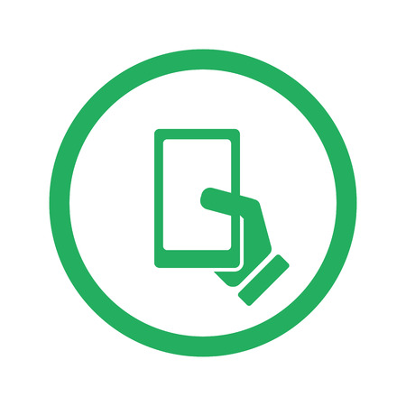 3g: Flat green Smartphone  icon and green circle