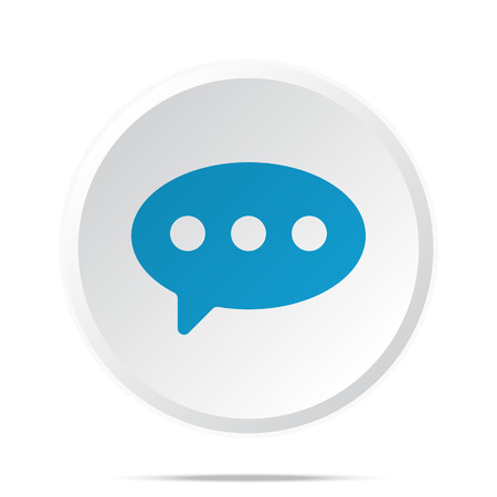 comment: Flat blue Comment icon on circle web button on white