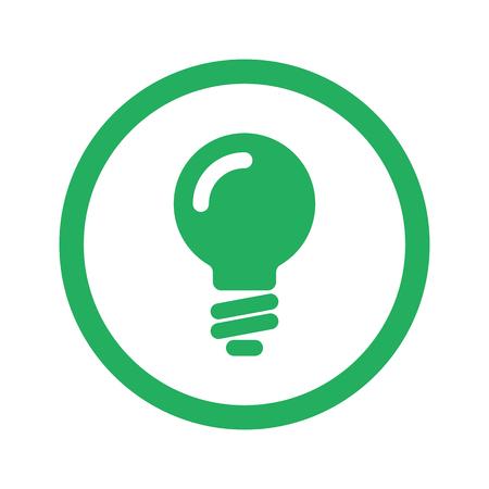 green light bulb: Flat green Light Bulb icon and green circle