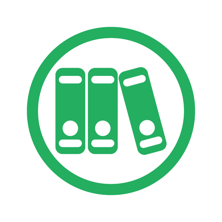 stack of files: Flat green Binders icon and green circle