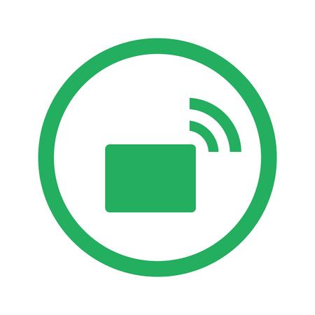 Flat green Transmitter icon and green circle