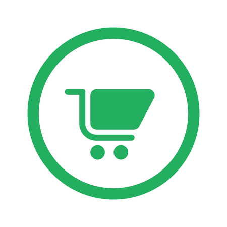 shopping cart icon: Flat green Shopping Cart icon and green circle Illustration