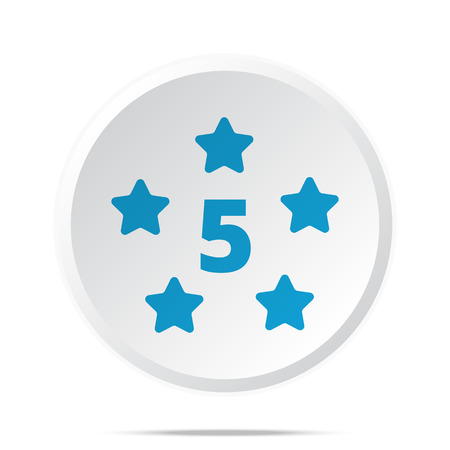 five star: Flat blue Five Star icon on circle web button on white