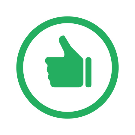 green thumb: Flat green Thumb Up icon and green circle Illustration