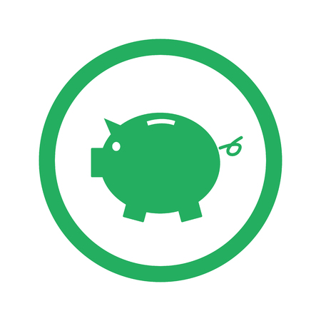 Flat green Piggy Bank icon and green circle