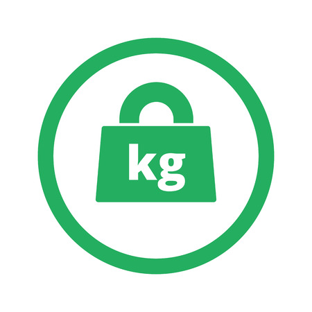 kilograms: Flat green Weight Kilograms icon and green circle Illustration