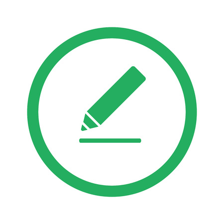 sign here: Flat green Sign Here icon and green circle