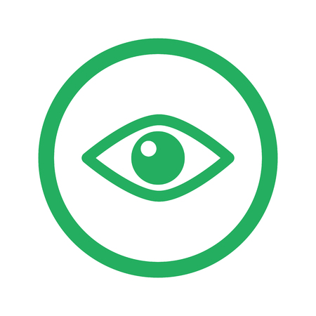 green eye: Flat green Eye icon and green circle Illustration