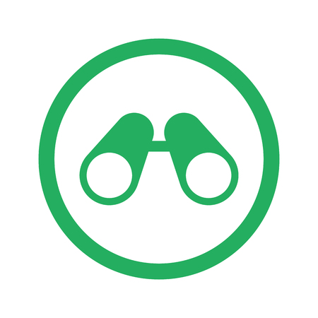 military watch: Flat green Binoculars icon and green circle