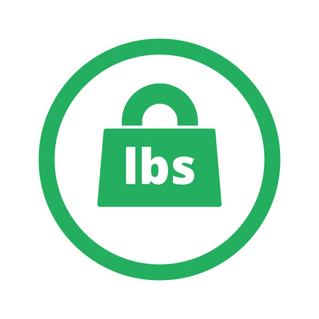 lbs: Flat green Weight Pounds icon and green circle