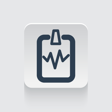 cardiogram: Flat black Cardiogram Clipboard icon on rounded square web button