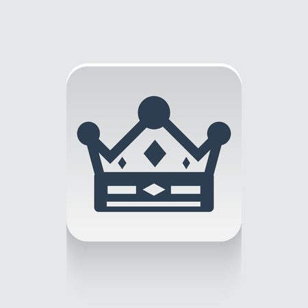 royal person: Flat black Crown icon on rounded square web button