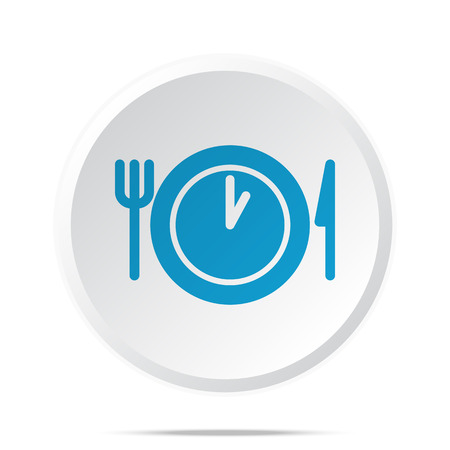 cooking time: Flat blue Lunch Time icon on circle web button on white Illustration