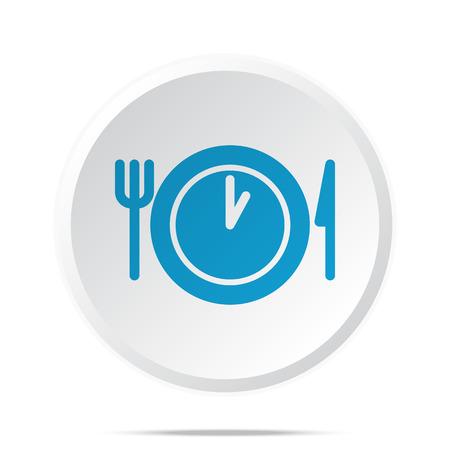 Piso icono azul del tiempo del almuerzo en el botón de la web círculo en blanco Ilustración de vector