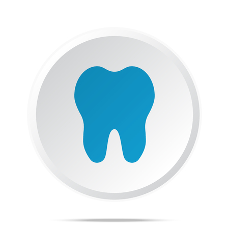blue tooth: Flat blue Tooth icon on circle web button on white