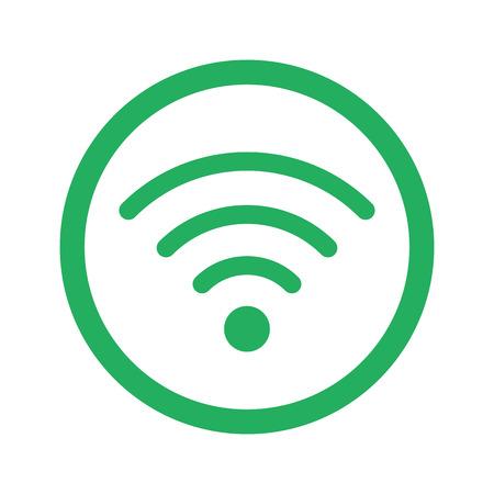 wireless: Flat green Wireless icon and green circle