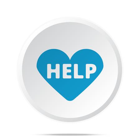 Flat blue Defibrillator  icon on circle web button on white