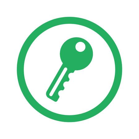 Flat green Key icon and green circle