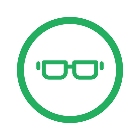 green glasses: Flat green Glasses icon and green circle Illustration