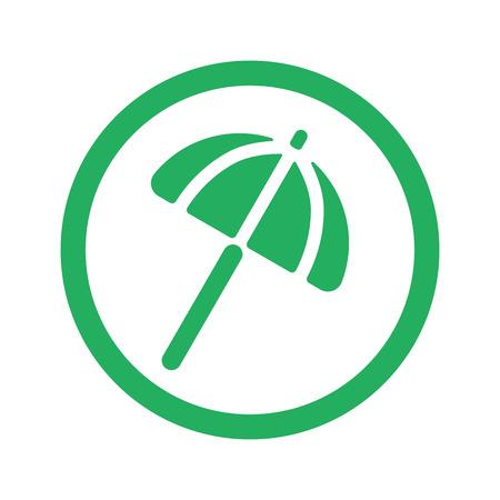 Flat green Parasol icon and green circle