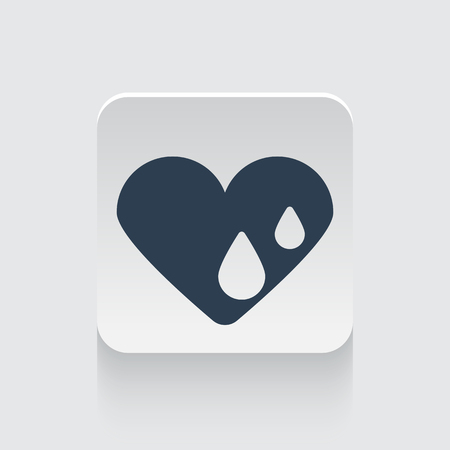 hes: Flat black Heart Water icon on rounded square web button